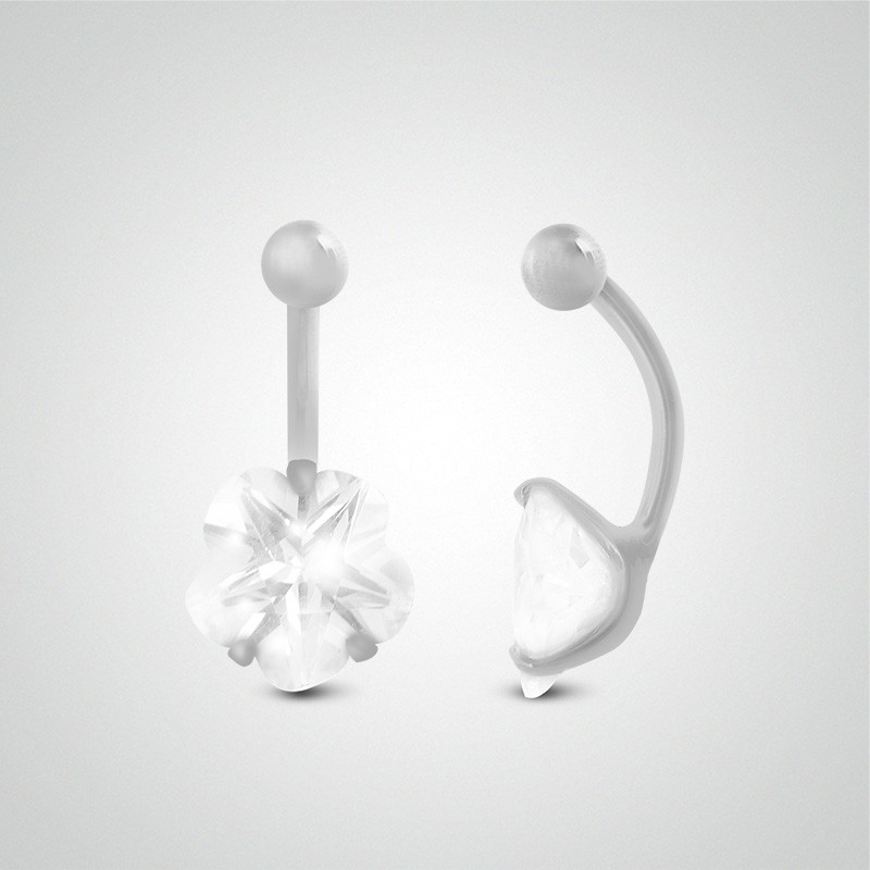 Piercing fleur pour le nombril en or blanc 18 carats [8mm]