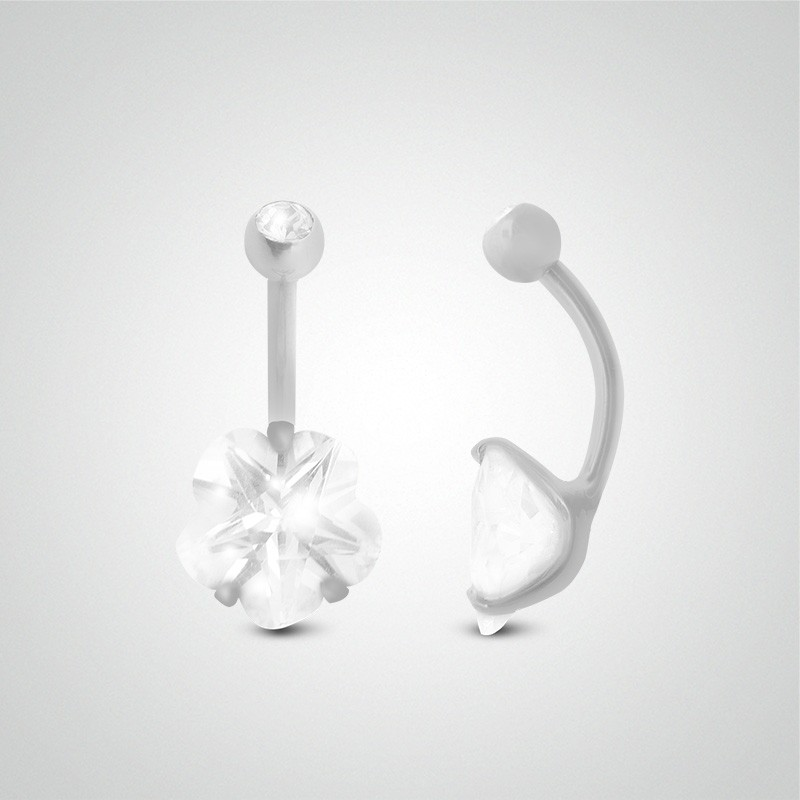 Piercing fleur pour le nombril en or blanc 18 carats (8mm)
