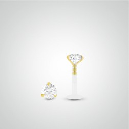 Piercing conch diamant 0,10 carats en or jaune