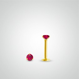 Piercing conch rubis 0,05 carats en or jaune (vissable)