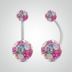 Piercing de nombril en or blanc et cristal de Swarovski multicolore