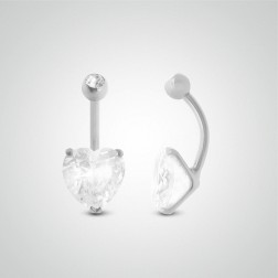 Piercing de nombril coeur or blanc avec oxyde de zirconium (10mm/boule zircon)