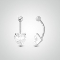 Piercing de nombril coeur or blanc avec oxyde de zirconium (8mm/boule zircon)