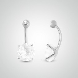 Piercing de nombril or blanc avec oxyde de zirconium rond (10mm/boule zircon)